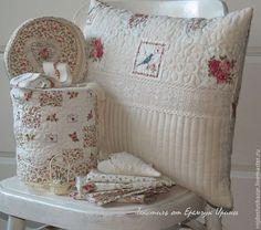 Купить Комплект шебби - белый, пастельный, английский стиль, розовый сад, подушка пэчворк