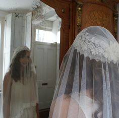 Wedding Veil, Vintage style, Pure Silk Tulle with Leaf pattern lace edge, waist length.. $250.00, via Etsy.