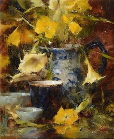 Arrangement in Blue and Yellow by Laura Robb Oil ~ 12 x 10