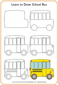 Learn to Draw a School bus Bus safety week October 2014 Easy Drawings For Kids, Drawing For Kids, Art For Kids, Drawing School, Doodle Drawings, Doodle Art, How To Doodle, Directed Drawing, Doodles