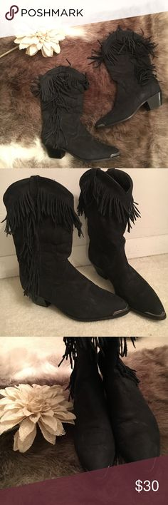 Acme Black Fringe Cowboy Boots Sz 5.5 HEART EYES! Sadly these beauties don't fit me! Great condition. No signs of wear on the boots. Only worn a handful of times! Acme Shoes Heeled Boots