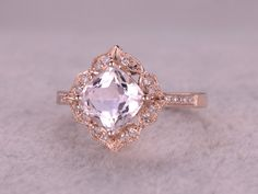 Morganite Engagement ring, 14K&18K Rose/Yellow/White Gold Available. Every Jewelry in my store needs making to order.If you have the stone,you can ask us custom make this setting![Item details]Engagement Ring:Solid 14K Rose Gold(Can be made in white/yellow/rose gold)Bottom Band Width approx 1.4mm8mm Cushion Cut 2.3ctw VS Pink Morganite0.16ctw Round Cut SI-H Natural Conflict Free Diamonds.Prong,Pave SetEstimated Retail Price: $1800See this wedding ring set please vi...