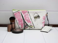 Small Makeup Pouch - Small Cosmetic Bag - French Style Fabric - Eiffel Tower - Notions Pouch - Waverly Tres Chic - Makeup Gift Idea by TalfourdJones on Etsy