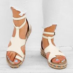 Women Micro Leather Adjustable Buckle Casual Plus Size Sandals – cuteshoeswear wedge sandals outfit wedge sandals outfit jeans wedge sandals outfit dress wedge sandals outfit summer wedge sandals wedding Slipper Sandals, Espadrille Shoes, Espadrilles, Flats, Wedge Sandals Outfit, Flat Sandals, Fashion Slippers, Fashion Shoes, Holiday Shoes