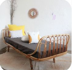 40 Modern Bed Frame Design Ideas Made Of Rattan - JustHomeIdeas Rattan Daybed, Rattan Furniture, Home Furniture, Outdoor Furniture, Outdoor Daybed, Furniture Cleaning, Furniture Movers, Daybed Design, Bed Frame Design