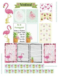 FREE PRINTABLES Flamingo Happy Planner stickers