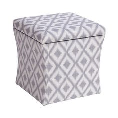 Skyline Hourglass Storage Ottoman, Ikat Fret Pewter (135 CAD) ❤ Liked On  Polyvore