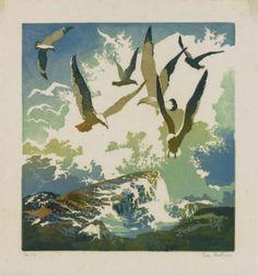 "Eva Auld Watson (American, ""Gulls and Spray,"" woodcut, x pencil signed and numbered, ed. Illustrations, Illustration Art, Linoprint, Bird Artwork, Wood Engraving, Print Artist, Linocut Prints, Woodblock Print, Strand"