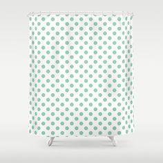Polka Dot Shower Curtain seafoam mint green by RiverOakStudio.   Love this for the seafoam green bath!!
