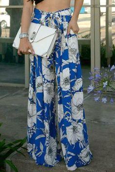 Blue White Floral Print Palazzo Pants