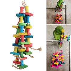 Colorful Parrot Macaw Cage Chew Toys Pet Bird Conure Swing Scratcher Bites Toy for sale online