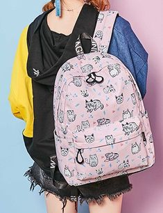 Amazon.com  Bookbags for Teens, Cute Cat and Fish Laptop Backpack School  Bags Travel Daypack Handbag by Mygreen Green  Clothing  afflink  affiliate dacf23fea1
