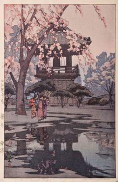 Hiroshi Yoshida Hiroshi Yoshida 	Hiroshi Yoshida Cherry blossoms Series In a Temple Yard 	 (1876-1950)