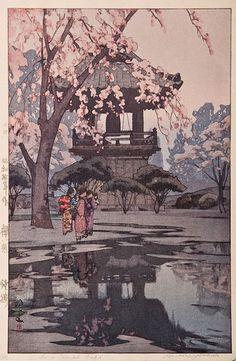 Japanese art Hiroshi Yoshida  Cherry blossoms Series  In a Temple Yard (1876-1950)