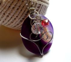 Large Purple Pendant Wire Wrapped Stone With Charm by Mylana, $16.00