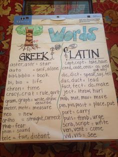 Root words anchor chart for Greek and Latin