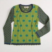 Pullover Smiley - grün/bunt