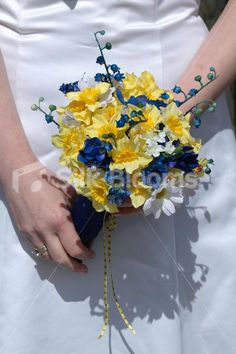 Yellow Daffodil Blue Lily of the Valley Bouquet