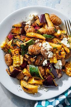 40 minutes · Vegetarian · This riff on pasta salad is best served warm while the gnocchi are nice and tender. Plus, the grilled veggies taste extra-good fresh off the fire in this easy gnocchi recipe. Gnocchi Salat, Healthy Dinner Recipes, Cooking Recipes, Summer Vegetarian Recipes, Vegetarian Salad, Grilled Dinner Ideas, Dinner Salad Recipes, Summer Vegetable Recipes, Summer Pasta Recipes