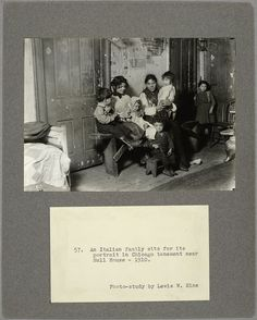 An Italian family sits for its portrait in Chicago tenement near Hull House, 1910 - ID: 464271 - NYPL Digital Gallery