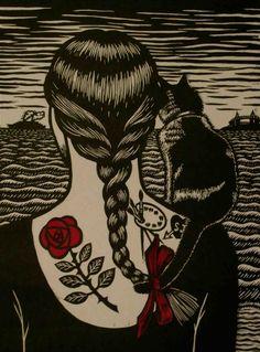Deborah Klein. Looking Back to See. 2011. Linocut, chine colle.