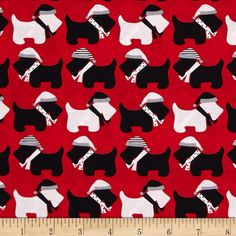 Robert Kaufman Jingle Scottie Dogs Red from @fabricdotcom  Designed by Ann Kelle for Robert Kaufman, this cotton print fabric is perfect for quilting, apparel and home decor accents. Colors include red, black and white.