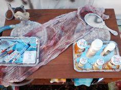 Table top idea for insane asylum in Halloween yard haunt.
