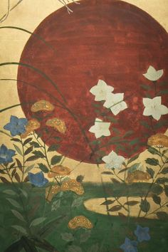 Japanese Six Panel Screen: Red Sun Over Autumn Grasses - Naga Antiques Japanese Painting, Japanese Art, Mountain Waterfall, Japanese Screen, Red Sun, Japanese Aesthetic, Flower Art, Art Flowers, Art Furniture