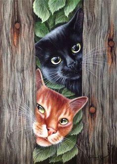 Cat Print Curious Chaps by Irina Garmashova I Love Cats, Crazy Cats, Cool Cats, Image Chat, Black Cat Art, Photo Chat, Cat Drawing, Animal Paintings, Dog Art
