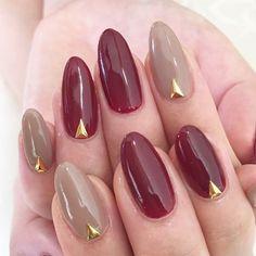 シンプルネイル #オフィス #グレージュ #秋 #冬 #バレンタイン #ボルドー #ロング #ワンカラー #ハンド #ANLucere(アンルチェーレ) #ネイルブック Chic Nails, Love Nails, Pretty Nails, Bling Nails, Red Nails, Hair And Nails, Chic Nail Designs, Self Nail, Nail Charms