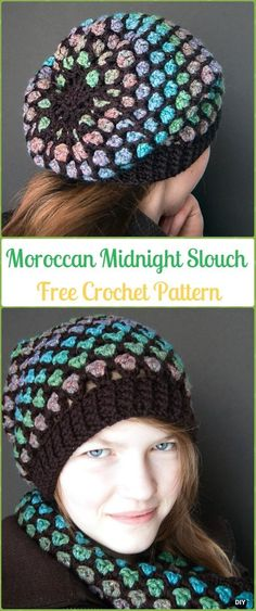 d8f0791b552 Crochet Moroccan Midnight Slouch Hat Free Patterns -Crochet Slouchy Beanie  Hat Free Patterns Crochet Slouchy