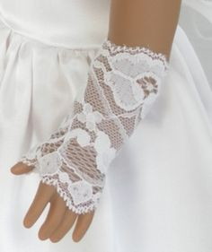 White Flower Lace Fingerless Gloves - Elbow Length  - American Girl Doll Accessories, Doll Accessory - 10028 on Etsy, $7.00