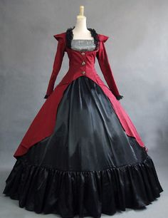 Red Gothic Victorian Steampunk Dress Reenactment Costume Theatre Clothing