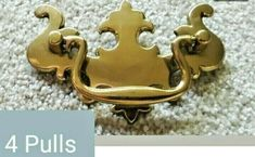 """SALE! $14.99 Lot of 4 Vintage Drawer Pulls 3 3/4"""" Centers Chippendale Style Bail NOS & Screws Antique Drawer Pulls, Vintage Drawers, Dressers, Antiques, Style, Antiquities, Swag, Antique, Stylus"""