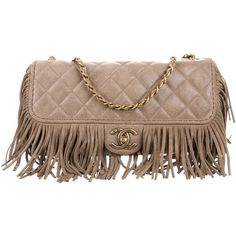 Pre-owned Chanel Paris-Dallas Fringe Flap Bag (€2.765) ❤ liked on Polyvore featuring bags, handbags, grey, chanel handbags, chanel purse, man bag, quilted flap bag and gray fringe purse
