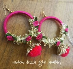 Handmade Earrings in pink Silk Bangles, Thread Bangles, Thread Jewellery, Fabric Jewelry, Gota Patti Jewellery, Earrings Handmade, Handmade Jewelry, Silk Thread Necklace, Rakhi Design