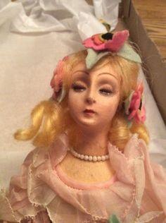 Vintage-Cloth-amp-Felt-Lenci-Boudoir-Doll-Character-Face-Original-Clothing