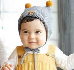 Baby Knit Hat with Pom-Poms