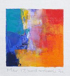 "Mar. 17, 2018 9 cm x 9 cm (app. 4"" x 4"") oil on canvas © 2018 Hiroshi Matsumoto www.hiroshimatsumoto.com Abstract Canvas Art, Oil Painting Abstract, Acrylic Art, Seascape Paintings, Art For Art Sake, Art Techniques, Collages, Pastel, Art Prints"