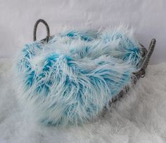 Frosted Sky Blue and White Faux Fur Newborn by SweetBabyJamesShop