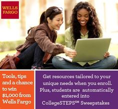 Wells Fargo CollegeSTEPS scholarship program for high school and college students. Forty (4) awards offered! Deadline August 12.