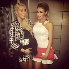 Demi and Chloe Sims in Rare London grid print sequin co-ord and racer quilted white dress