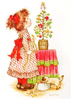 Niña ante el árbol de navidad - Sarah Kay
