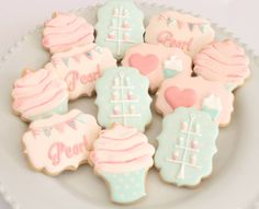 Cupcake themed cookies by Miss Biscuit Baby Cookies, Cupcake Cookies, Sugar Cookies, Decorating Supplies, Cookie Decorating, Biscuit Cupcakes, Iced Biscuits, Ballerina Birthday, Royal Icing