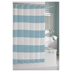 Kassatex Hampton Stripe Shower Curtain - Spa Blue ...YES!!!  I could cut this in half and use them for curtains in James' room!  ($35 at Target...online only)