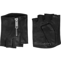 Karl Lagerfeld Zipped fingerless leather gloves (635 NOK) ❤ liked on Polyvore