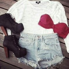 Cute high waisted shorts with booties, slightly sheer white top with a burgundy bandeau