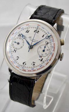 *Vintage Minerva Handwind Single Button Chronograph Mechanical Mens Wrist Watch*   eBay
