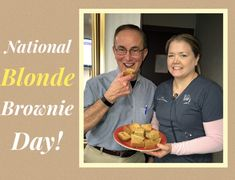 Today is National blonde brownie day! Here's Leah and Dr Pat enjoying some of Leah's homemade blondies! #NationalBlondeBrownieDay #LVSmileDesigns