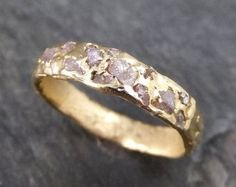 Raw Rough Uncut Pink Diamond Wedding Band 14k Gold Wedding Ring by Angeline 1031